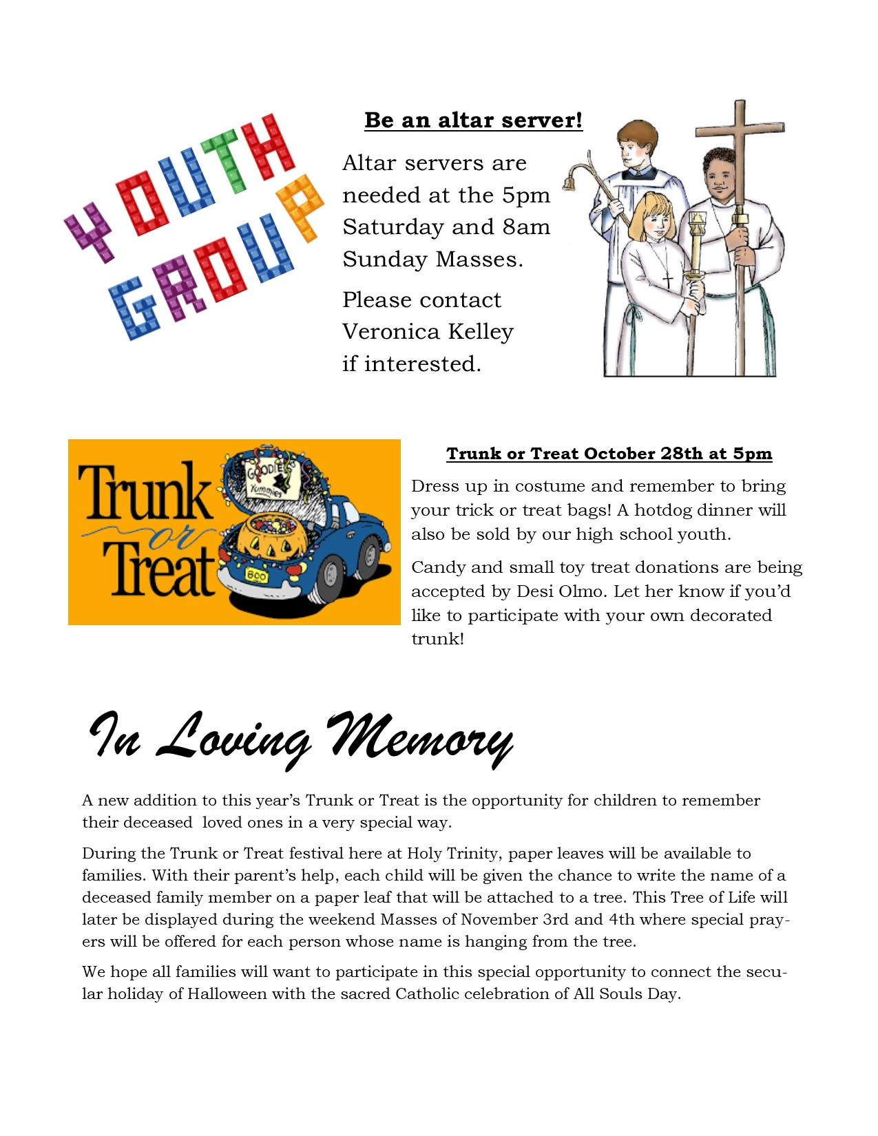 october youth group newsletter 2018